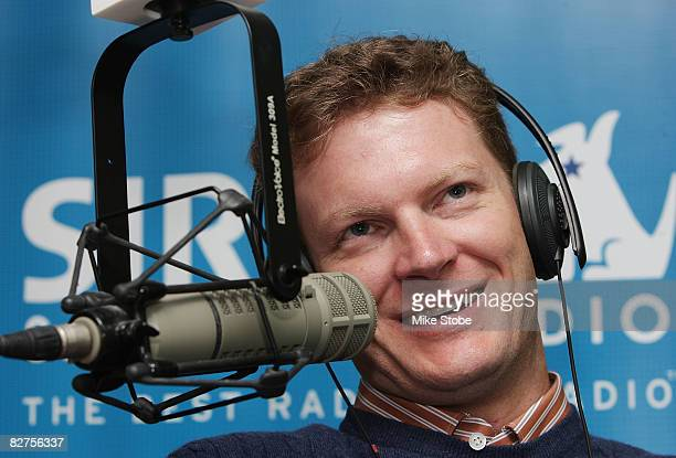 Dale Earnhardt Jr Energy Chevrolet is interviewed during the Sirius Satellite radio show The Morning Drive during the NASCAR Chase Media Tour on...
