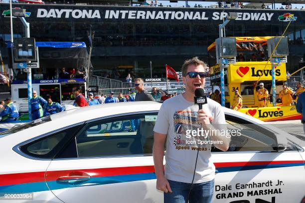 Dale Earnhardt Jr gives the command to start engines for the 60th running of the Daytona 500 on February 18 at the Daytona International Speedway in...