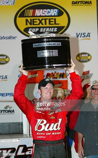 Dale Earnhardt Jr. Holds the trophy after winning the Daytona 500 at Daytona International Speedway, February 18, 2004.