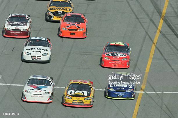 NASCAR Dale Earnhardt Jr Jeff Burton Ryan Newman Jeff Gordon Scott Riggs Scott Wimmer Jimmie Johnson during NEXTEL Cup Daytona 500 at Daytona...