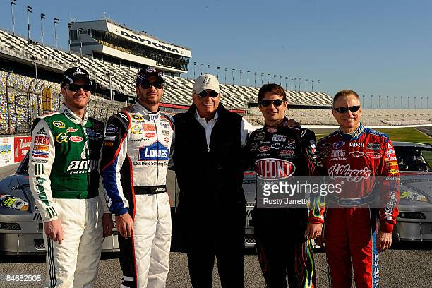 Dale Earnhardt Jr Jimmie Johnson Rick Hendrick Jeff Gordon and Mark Martin pose for the media prior to practice for the NASCAR Sprint Cup Series...