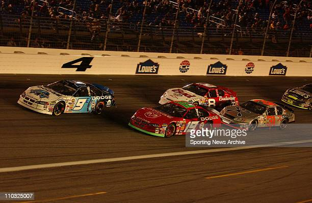 NASCAR Dale Earnhardt Jr Kasey Kahne Jeremy Mayfield Robby Gordon during the Nextel cup UAWGM Quality 500 at Lowe's Motor Speedway in Concord NC on...