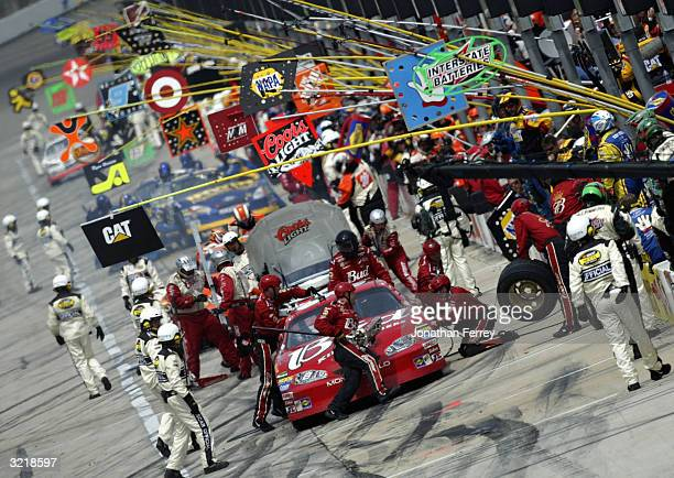 Dale Earnhardt Jr. Pits his Budweiser Chevrolet during the NASCAR Nextel Cup Samsung Radio Shack 500 on April 4, 2004 at Texas Motor Speedway in Fort...