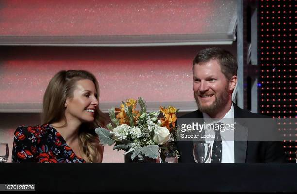Dale Earnhardt Jr sits alongside his wife Amy during the NASCAR XFINITY and Truck Series Banquets at Charlotte Convention Center on December 8 2018...