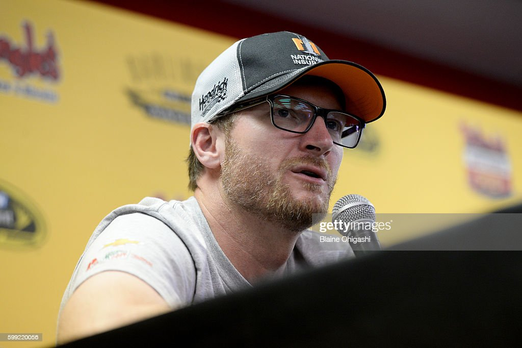 Dale Earnhardt Jr. speaks to the media during the NASCAR Sprint Cup Series Bojangles' Southern 500 at Darlington Raceway on September 4, 2016 in Darlington, South Carolina.