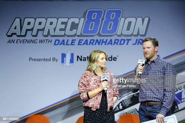 Dale Earnhardt Jrand his wife Amy talk on stage during Appreci88ion An Evening With Dale Earnhardt Jr Presented By Nationwide at The Cosmopolitan of...