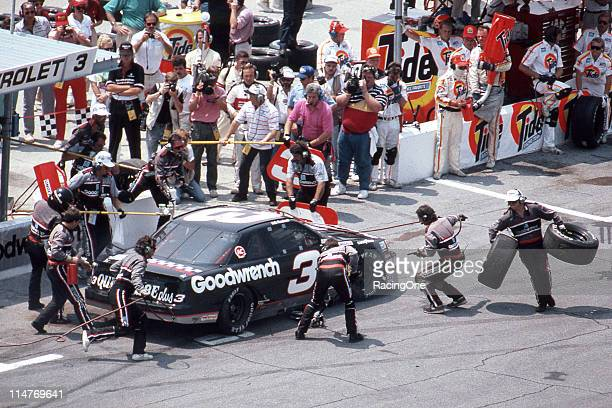 Dale Earnhardt makes a pit stop during the TranSouth 500 NASCAR Cup race at Darlington Raceway