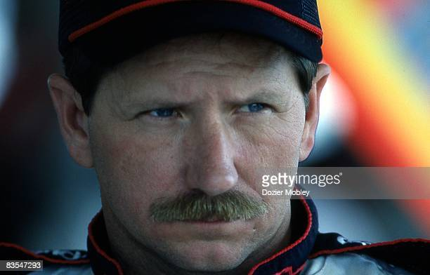 Dale Earnhardt stares seriously before the Daytona 500 race on February 19 1989 at the Daytona International Speedway in Daytona Beach Florida
