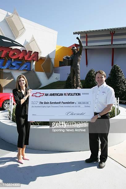 NASCAR Dale Earnhardt statue Teresa Earnhardt Dale Earnhardt Foundation during Busch Series practice for the Hershey's Take 5 300 at Daytona...