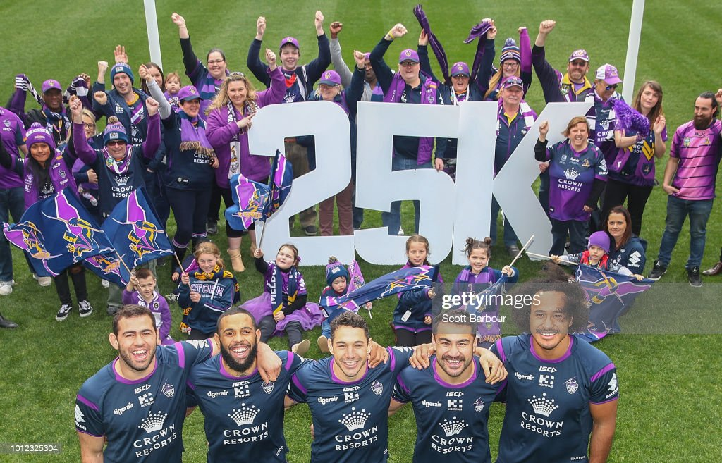Dale Finucane, Josh Addo-Carr, Billy Slater, Jahrome Hughes and Felise Kaufusi and Storm members pose during a Melbourne Storm NRL media opportunity at AAMI Park on August 7, 2018 in Melbourne, Australia. Melbourne Storm announced it has surpassed 25,000 members for the first time in the ClubÕs history.