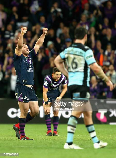 Dale Finucane of the Storm celebrates a win during the NRL Preliminary Final match between the Melbourne Storm and the Cronulla Sharks at AAMI Park...