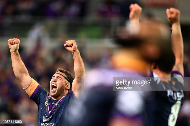 Dale Finucane of the Storm celebrates winning the NRL Preliminary Final match between the Melbourne Storm and the Cronulla Sharks at AAMI Park on...