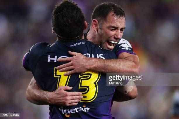 Dale Finucane of the Storm celebrates with Cameron Smith after scoring a try during the 2017 NRL Grand Final match between the Melbourne Storm and...