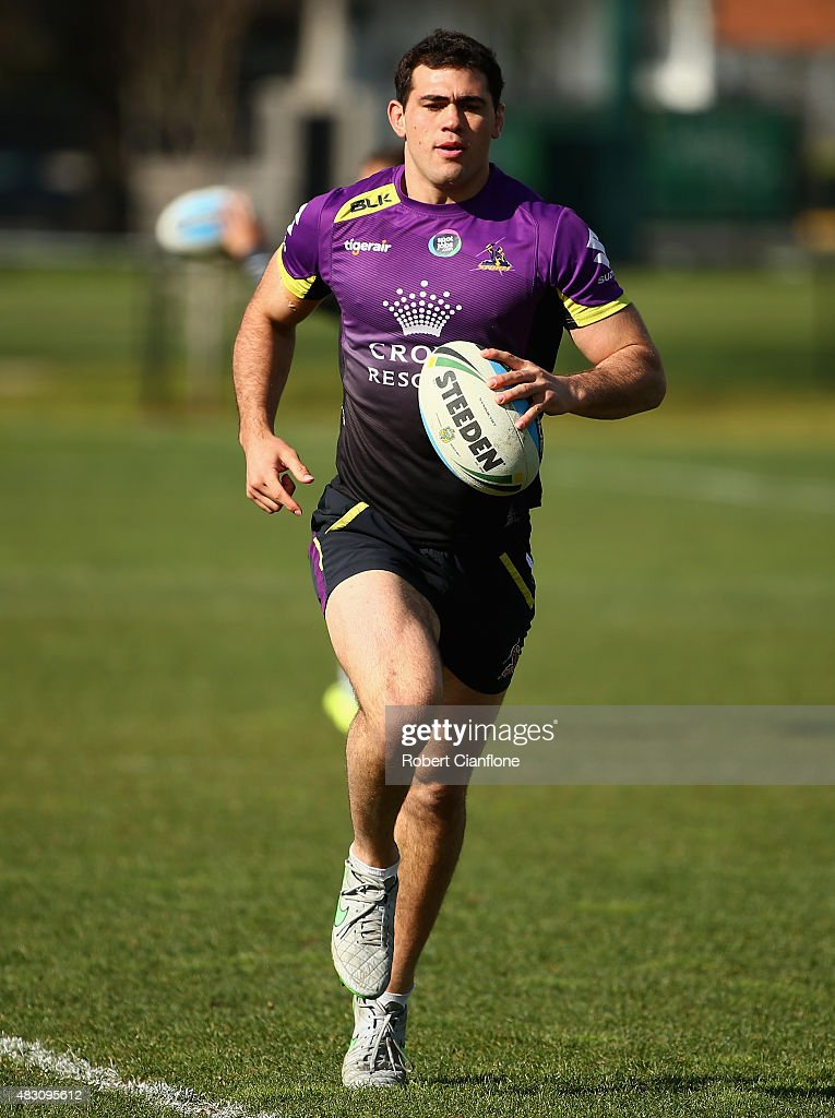 Dale Finucane of the Storm warms up during a Melbourne Storm media session at Gosch's Paddock on August 6, 2015 in Melbourne, Australia.