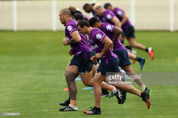 Dale Finucane performs drills during a Melbourne Storm NRL training session at Albury Tigers Club on May 06, 2020 in Albury, Australia.