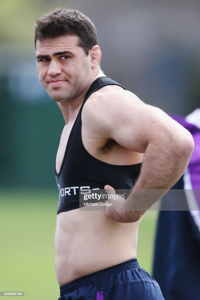 Dale Finucane prepares during a Melbourne Storm NRL training session at AAMI Park on September 18, 2017 in Melbourne, Australia.