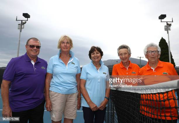 Dale Forwood Jo Lynch Pam Roberts Ailsa Richards and Sheila Cocker pose as they celebrate 25 years as volunteers during the 2018 Hobart International...