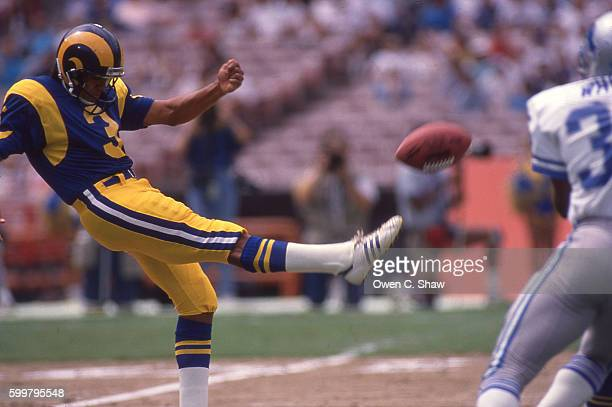 Dale Hatcher of the Los angeles Rams circa 1986 punts against the Detroit Lions at Anaheim stadium in Anaheim California