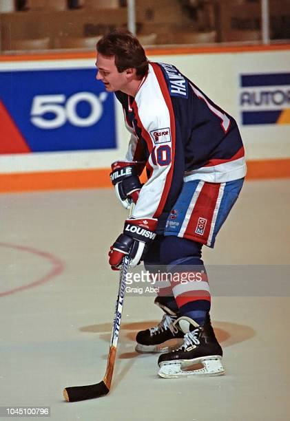 Dale Hawerchuk of the Winnipeg Jets skates against the Toronto Maple Leafs during NHL game action on March 17 1990 at Air Canada Centre in Toronto...