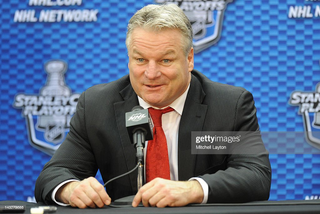 Dale Hunter, Head Coach of the Washington Capitals, speaks during a press conference after Game Six of the Eastern Conference Quarterfinals of the 2012 NHL Stanley Cup Playoffs against the Boston Bruins on April 22, 2012 at the Verizon Center in Washington, DC.