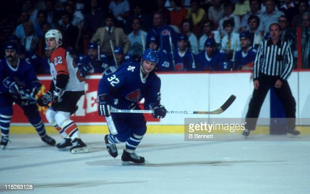 Dale Hunter of the Quebec Nordiques skates on the ice during the Eastern Conference Finals against the Philadelphia Flyers in May, 1985 at the...