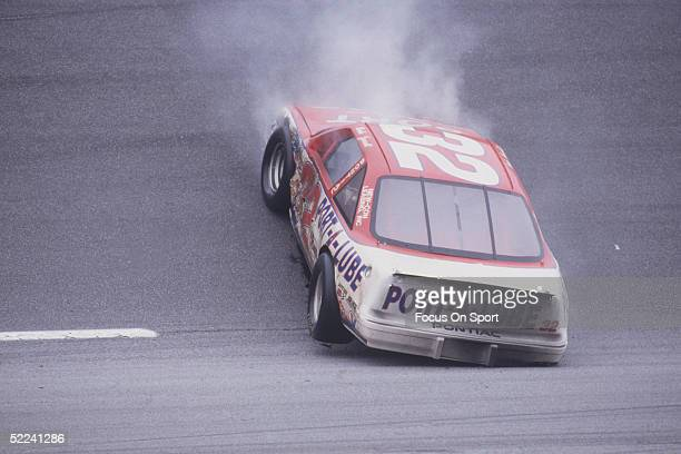 Dale Jarrett comes to a stop in his PortALube car after spinning out on a turn during the Daytona 500 at the Daytona Speedway on February 19 1989 in...