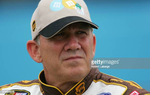 Dale Jarrett driver of the Robert Yates Racing UPS/ Milk Chocolate MM's Ford looks on during qualifying for the NASCAR Nextel Cup Series Subway Fresh...