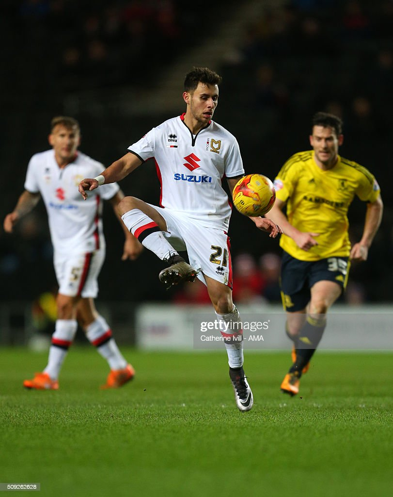 Dale Jennings of Mk Dons during the Sky Bet Championship match between MK Dons and Middlesbrough at Stadium mk on February 9, 2016 in Milton Keynes, England.