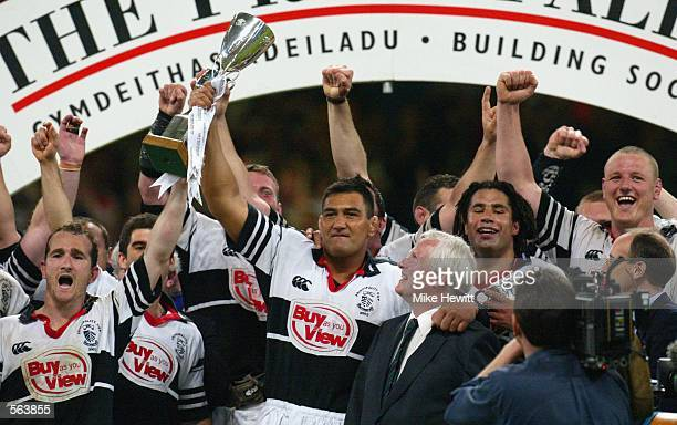 Dale McIntosh of Pontypridd lifts the trophy during the Principality Cup Final between Llanelli and Pontypridd at The Millennium Stadium, Cardiff on...