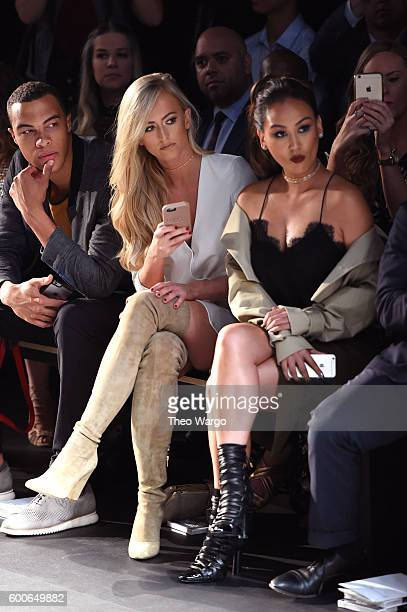 Dale Moss Danielle Moinet and Dorothy Wang attend the Michael Costello fashion show during New York Fashion Week The Shows September 2016 at The Dock...