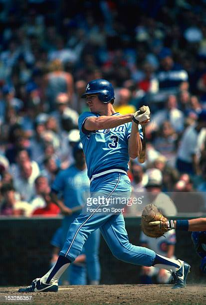 Dale Murphy of the Atlanta Braves bats against the Chicago Cubs during an Major League Baseball game circa 1982 at Wrigley Field in Chicago Illinois...