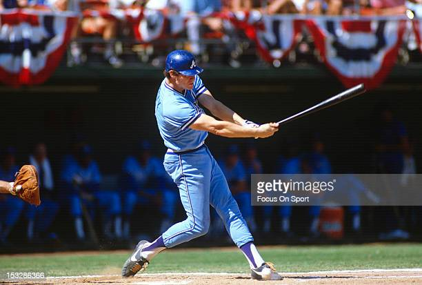 Dale Murphy of the Atlanta Braves bats against the San Diego Padres during an Major League Baseball game circa 1982 at Jack Murphy Stadium in San...