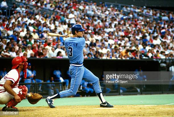 Dale Murphy of the Atlanta Braves bats against the St Louis Cardinals during an Major League Baseball game circa 1983 at Busch Stadium in St Louis...