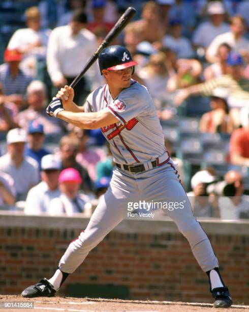 Dale Murphy of the Atlanta Braves bats during an MLB game against the Chicago Cubs at Wrigley Field in Chicago Illinois during the 1988 season