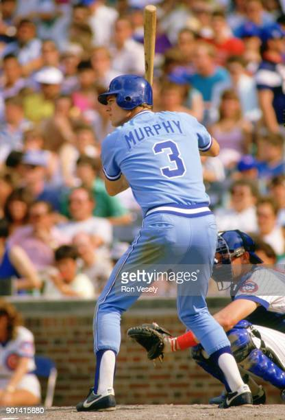 Dale Murphy of the Atlanta Braves bats during an MLB game against the Chicago Cubs at Wrigley Field in Chicago Illinois during the 1986 season