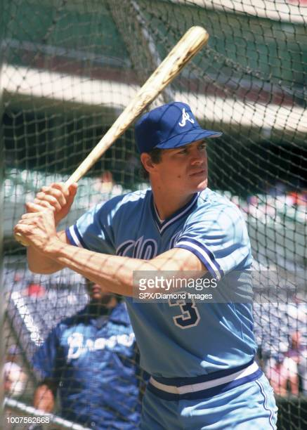 Dale Murphy of the Atlanta Braves in the batting cage before a game from his 1986 season with the Atlanta Braves Dale Murphy played for 18 years with...