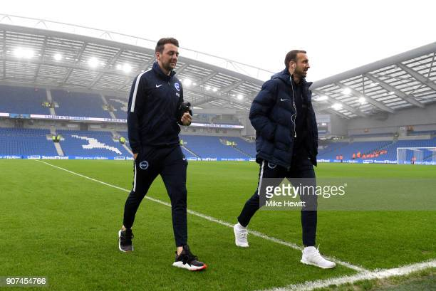 Dale Stephens and Glenn Murray of Brighton and Hove Albion arrive prior to the Premier League match between Brighton and Hove Albion and Chelsea at...