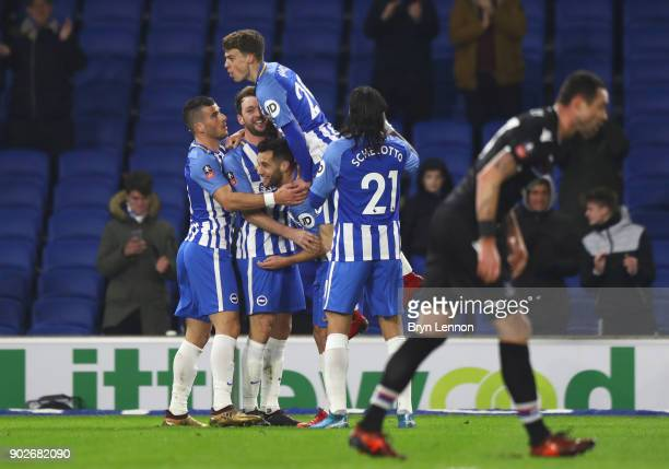 Dale Stephens of Brighton and Hove Albion celebrates as he scores their first goal with team mates during The Emirates FA Cup Third Round match...