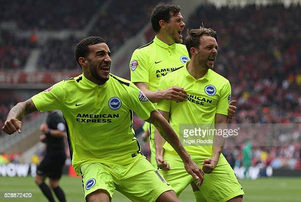 Dale Stephens of Brighton and Hove Albion celebrates scoring during the Sky Bet Championship match between Middlesbrough and Brighton and Hove Albion...