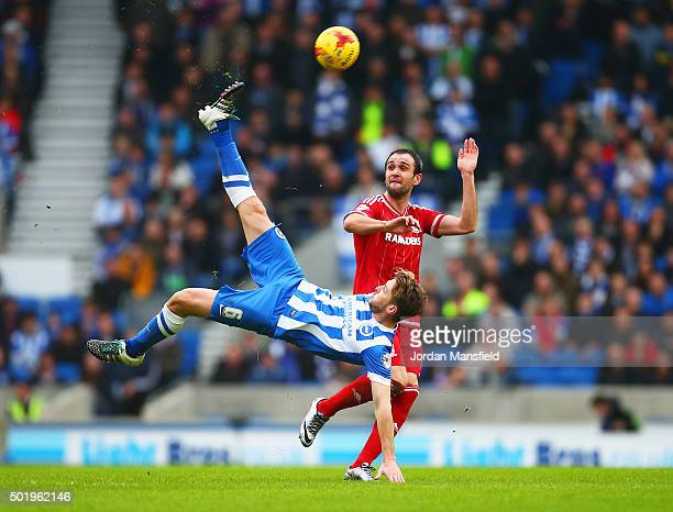 Dale Stephens of Brighton and Hove Albion clears the ball from Kike of Middlesbrough during the Sky Bet Championship match between Brighton and Hove...