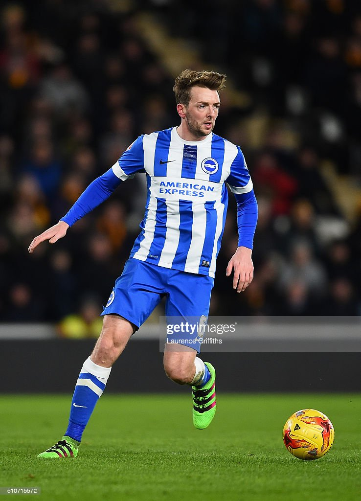 Dale Stephens of Brighton and Hove Albion in action during the Sky Bet Championship match between Hull City and Brighton and Hove Albion at KC Stadium on February 16, 2016 in Hull, United Kingdom.