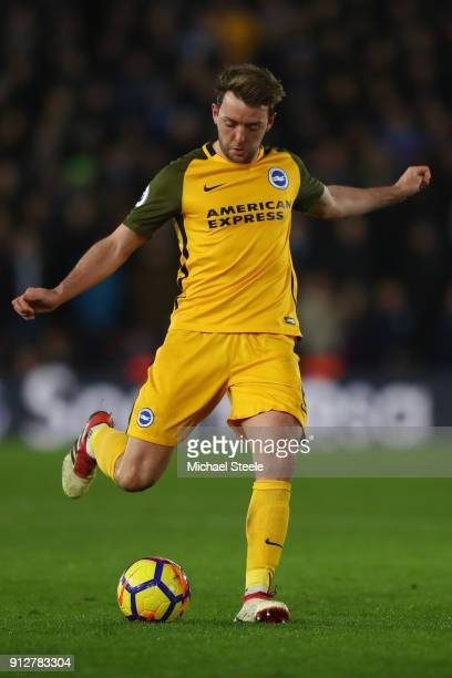 Dale Stephens of Brighton during the Premier League match between Southampton and Brighton and Hove Albion at St Mary's Stadium on January 31 2018 in...