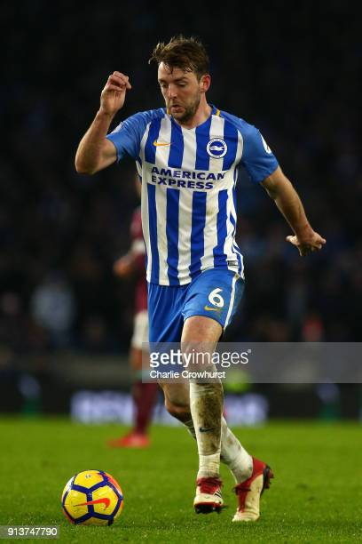 Dale Stephens of Brighton during the Premier League match between Brighton and Hove Albion and West Ham United at Amex Stadium on February 3 2018 in...