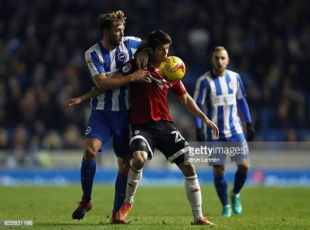 Dale Stephens of Brighton Hove Albion battles Lucas Piazon of Fulham during the Sky Bet Championship match between Brighton Hove Albion and Fulham at...