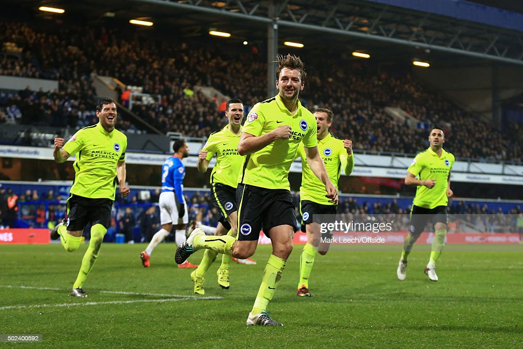 Dale Stephens of Brighton & Hove Albion celebrates scoring the opening goal during the Sky Bet Championship match between Queens Park Rangers and Brighton and Hove Albion at Loftus Road on December 15, 2015 in London, United Kingdom.