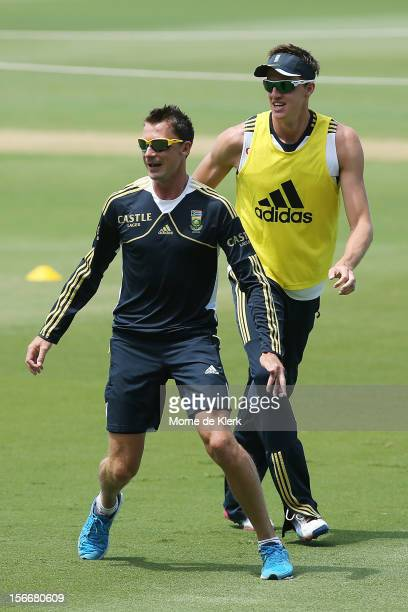 Dale Steyn and Morne Morkel of South Africa play a game of soccer during a South African Proteas training session at Adelaide Oval on November 19...