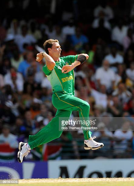 Dale Steyn bowling for South Africa during the ICC World Twenty20 Super Eight Match between England and South Africa played at the Kensington Oval on...