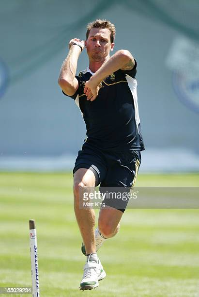 Dale Steyn bowls during a South African Proteas nets session at Sydney Cricket Ground on October 31 2012 in Sydney Australia