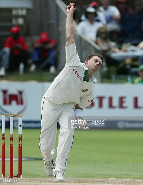 Dale Steyn bowls during day one of the First Test match between South Africa and West Indies from Sahara Oval at St Georges Park on December 26, 2007...