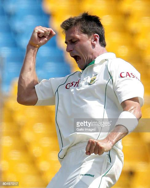 Dale Steyn celebrates during day one of the second test match between India and South Africa held at Sardar Patel Gujarat Stadium April 3 2008 in...